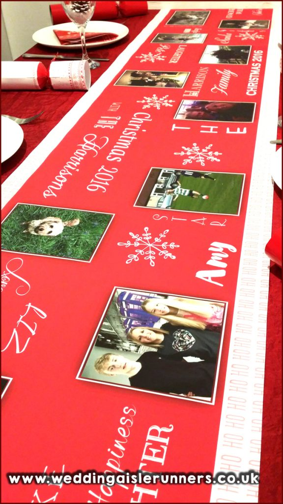 Family photo table runner