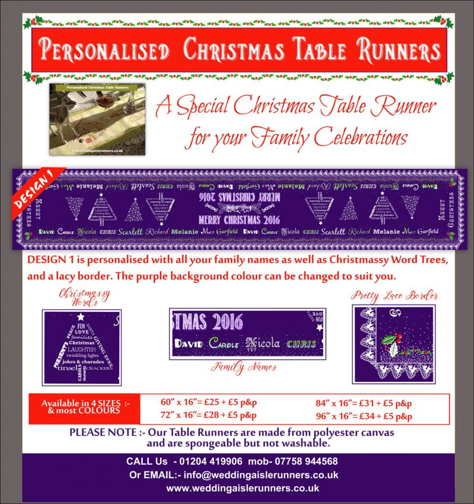 Design 1 Personalised Christmas Table Runner