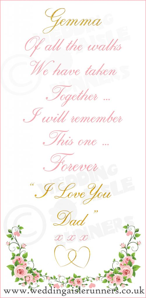 This was the design at the entrance end of Gemma and Joe's wedding aisle runner